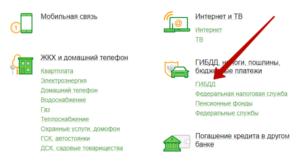 В каталоге доступных услуг укажите «ГИБДД»