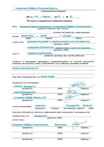 Акт об отказе прохождения медицинского освидетельствования