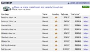 Цены компании Europcar на аренду авто