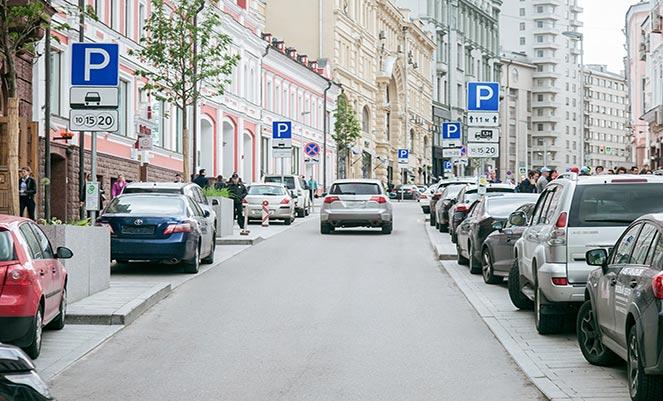 Стоянка авто в местах для парковки